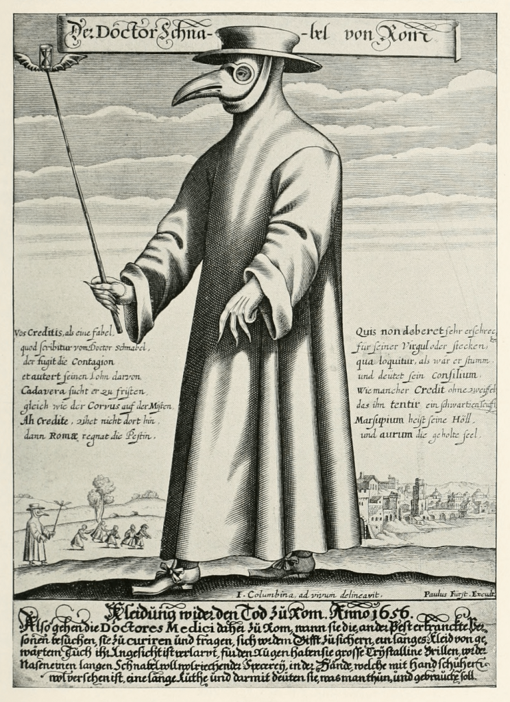 doctor in 17th century wearing plague mask