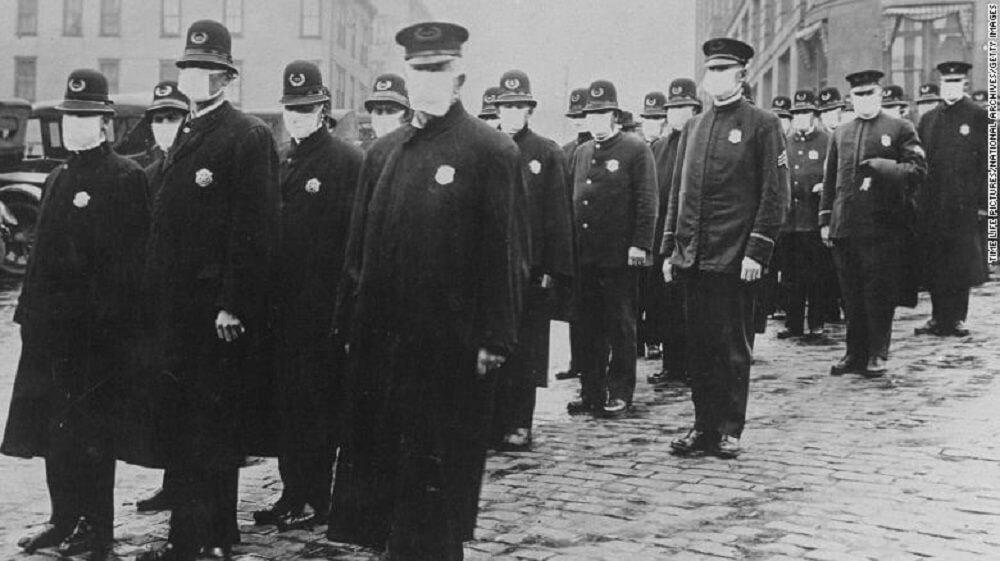flu masked police in 1918